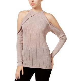 Guess Womens Pullover Sweater Metallic Cold Shoulder