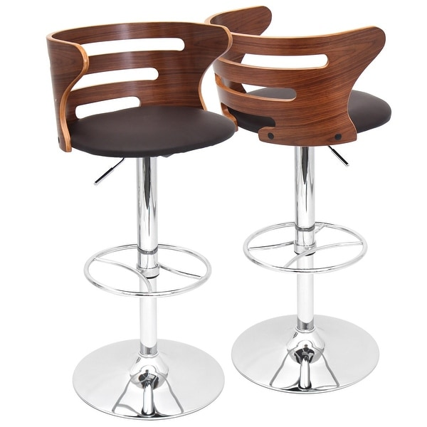 """Set of 2 Walnut Back Brown Faux Leather Indoor Barstool 39"""" - N/A"""