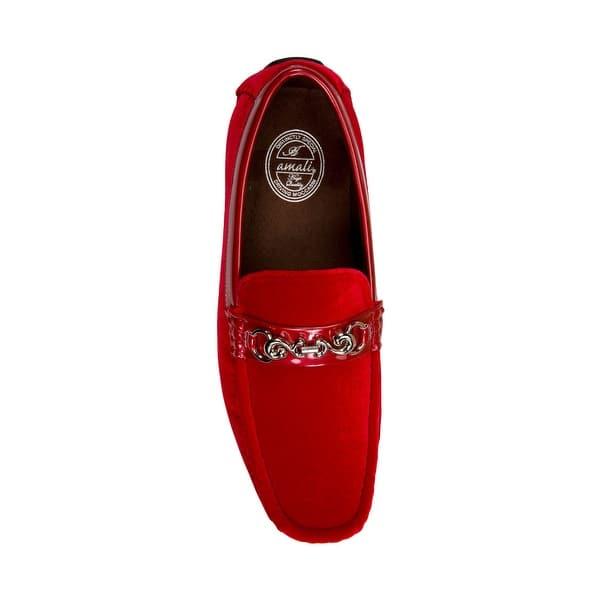 Amali Mens Velvet Loafer Smoking Slipper Dress Shoe with Embellished Bit