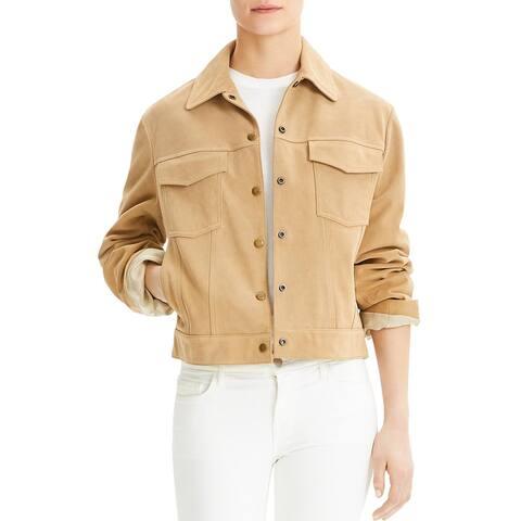 Theory Womens Trucker Jacket Suede Leather Short - Dark Sand - S