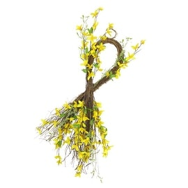 "31"" Decorative Yellow and Green Forsythia Artificial Spring Floral Teardrop Swag"
