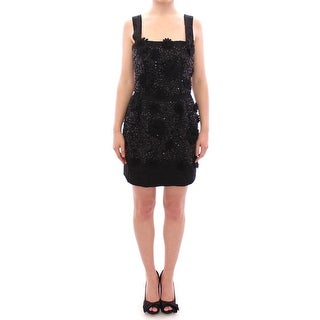 Dolce & Gabbana Dolce & Gabbana Black floral crystal embedded dress - it40-s