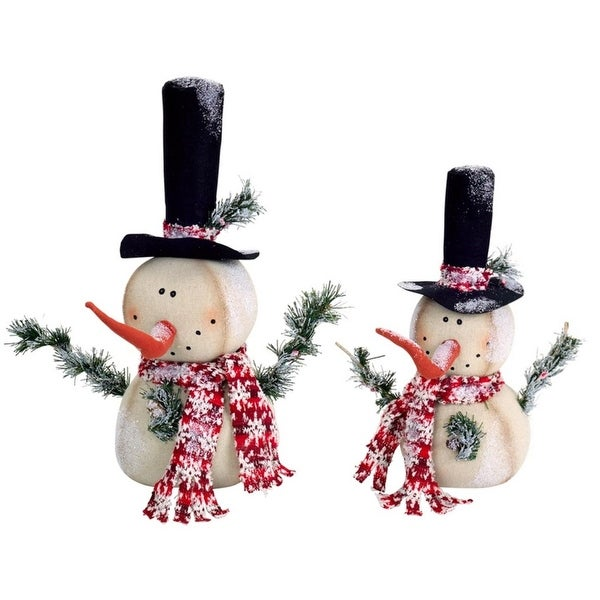 Set of 2 Whimsical Fabric Frosted Jolly Snowmen Christmas Table Top Decorations