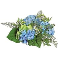 16 in. Decorative Artificial Blue & Green Hydrangea & Berry