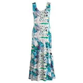 Women's Grapevine Print Blue Maxi Dress - Scoop Neckline Sleeveless