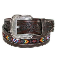Roper Men's Hand Tooled Leather with Beaded Center Western Belt