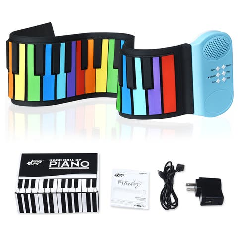 Costway 49 Keys Roll Up Piano Flexible Kids Piano Keyboard with Built-in Speaker Rainbow - As the picture shows