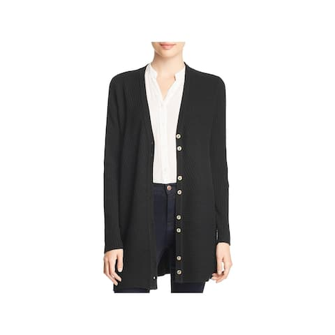 Avec Womens Cardigan Sweater Ribbed Button Detail - Black