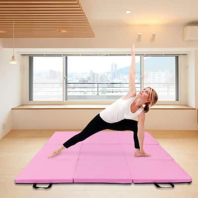 """55""""x24""""x1.2"""" Tri-fold Gymnastics Yoga Mat with Hand Buckle"""