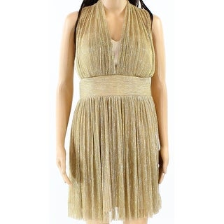 Alexia Admor NEW Gold Women Size 8 Ruched Pleated Metallic Sheath Dress