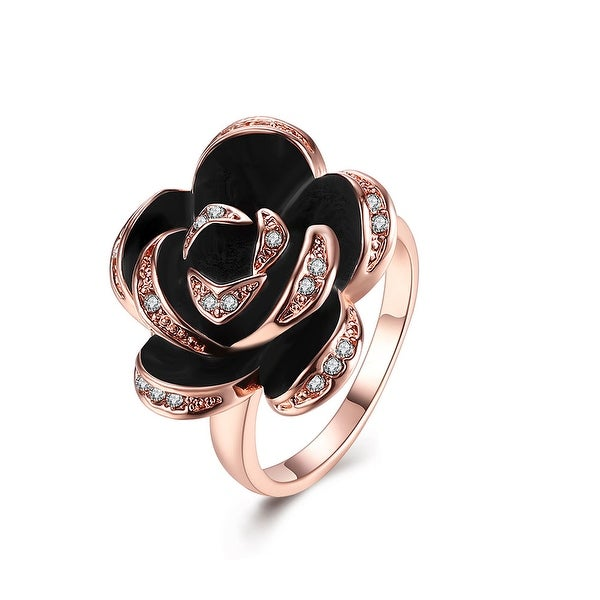 Rose Gold Plated Onyx Floral Petal Ring