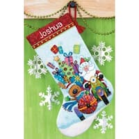 "Santa's Sidecar Stocking Counted Cross Stitch Kit-13""X20"" 14 Count Dimensions"