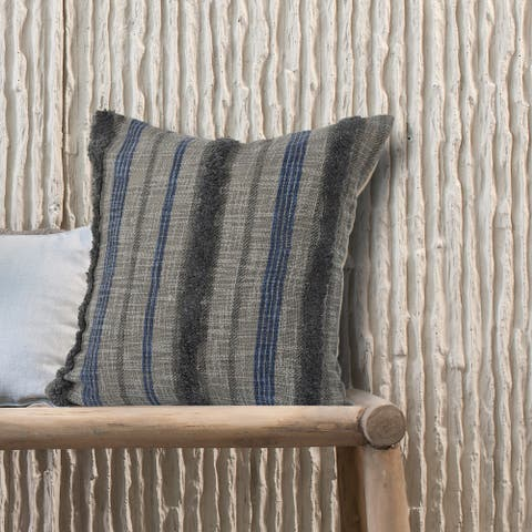 LR Home Over-tufted Striped Contemporary Nautical Pillow 18 inch