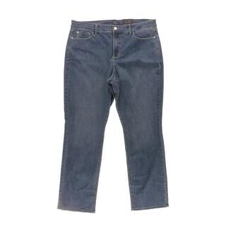 NYDJ Womens Plus Marilyn Straight Leg Jeans Medium Wash Slimming Fit