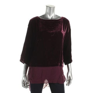 Eileen Fisher Womens Petites Pullover Top Velvet Three-Quarter Sleeve