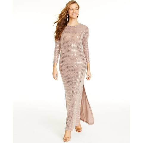Morgan & Company Women's Trendy Plus Size Disco Dot Gown Taupe Size XX Large