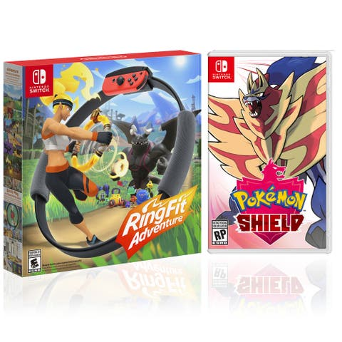 RingFit Adventure + Pokemon Shield - 2 Game Bundle - Nintendo Switch - Black