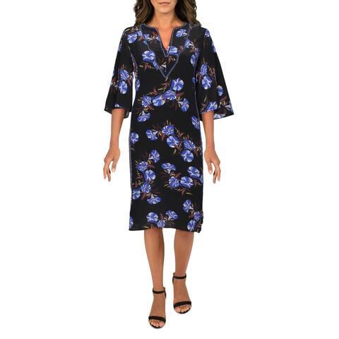 Kobi Halperin Womens Daniella Midi Dress Floral Rope Belt - Black Multi