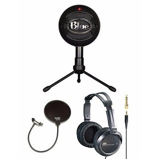 Blue Microphones Snowball iCE Condenser Microphone with Knox Pop Filter & Full-Size Headphones (Black)