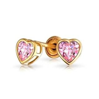 Bling Jewelry 14K Pink CZ Heart Baby Screw Back Studs