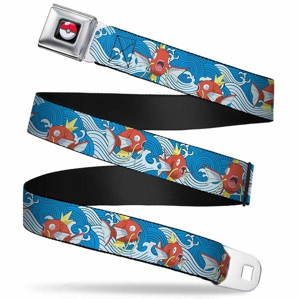 Pok Ball Full Color Black Magikarp Poses Waves Swirl Blue White Webbing Seatbelt Belt