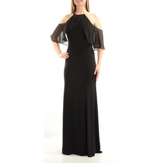 Womens Black Sleeveless Full Length Sheath Formal Dress Size: 10