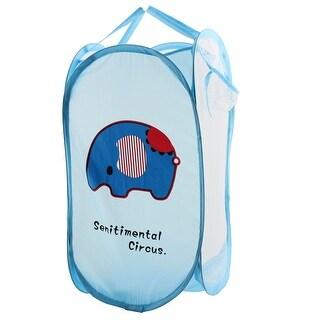 Portable Folding Pop up Laundry Mesh Washing Basket Storage Bag Case Sky Blue