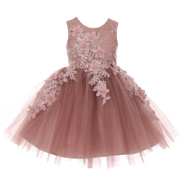 90a5bab7188 Shop Little Girls Mauve 3D Floral Appliques Soft Tulle Easter Flower Girl  Dress - Free Shipping Today - Overstock - 20272085