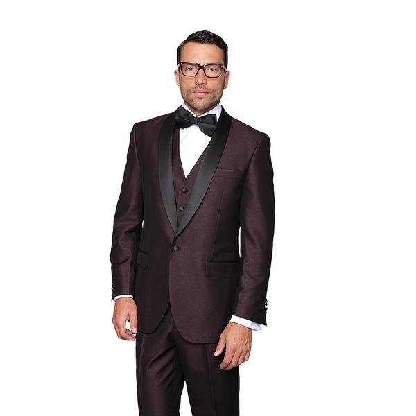 ENZO1 Men's 3pc SHARKSKIN PLUM Suit, Modern Fit, 1 Button, 2 Side Vent, Flat Front Pants