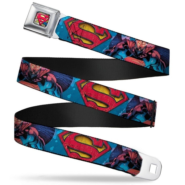 Superman Shield Weathered Full Color Blue Red Yellow Superman Unchained Seatbelt Belt