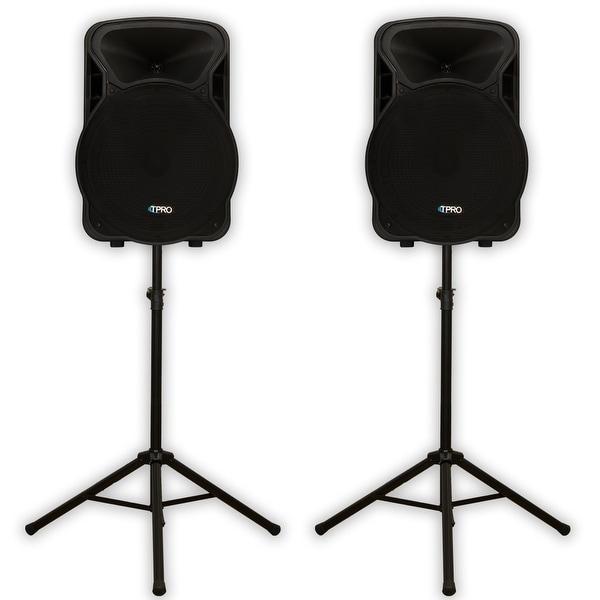 "Technical Pro PVOLT15BT Bluetooth 15"" Active 3000 Watt Speakers & Stands DJ Set"