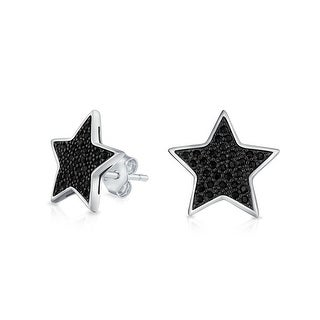 Star Stud Mens Earrings Black Micropave CZ Sterling Silver .5 Inch