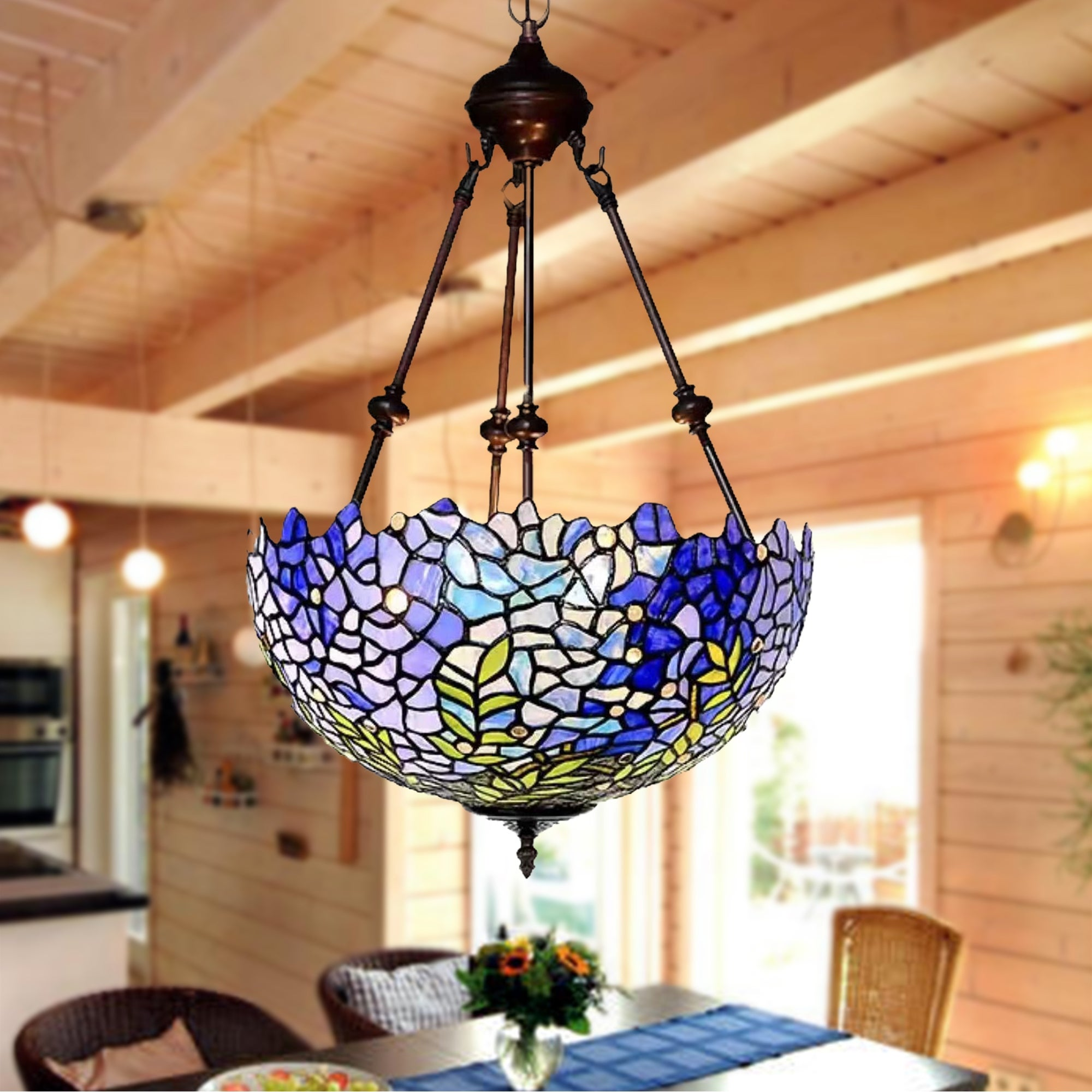 Shop Black Friday Deals On Baronn Wisteria Design Stained Glass 2 Light Tiffany Style Chandelier Overstock 31638480