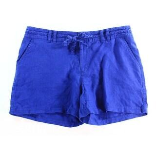INC NEW Goddess Blue Women's Size 8 Four Pocket Belted Linen Shorts
