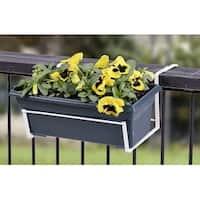 """Panacea 89053 Steel Deck Flower Box Holder, 14.75"""" x 7.25"""" x 12.25"""", White"""