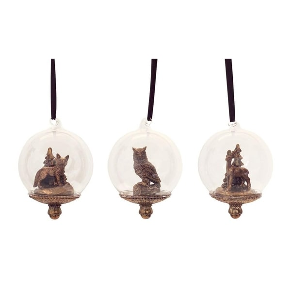 """Club Pack of 12 Antique Bronze Colored Fox, Owl and Deer Snow Globe Ornament 3"""""""