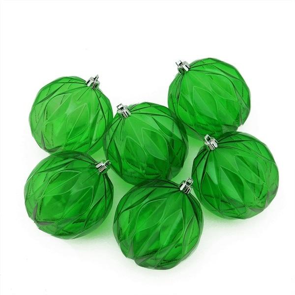 "6ct Xmas Green Transparent Rhombus Cut Shatterproof Christmas Ball Ornaments 3"""