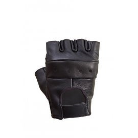Unisex Premium Cowhide Leather Half Finger Cycling/Riding/Gym Gloves Black G1