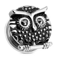 Owl with Gemmed Black Eyes 316L Surgical Steel Screw Fit Plug (Sold Individually)