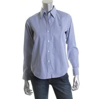 Ralph Lauren Womens Petites Aaron Dress Shirt Cotton Pinstripe