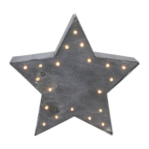 "9.75"" Small Lighted Gray Star Christmas Table Top Decoration"