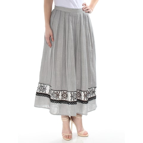 MAX STUDIO Womens Black Eyelet Printed Maxi A-Line Wear To Work Skirt Size: 2