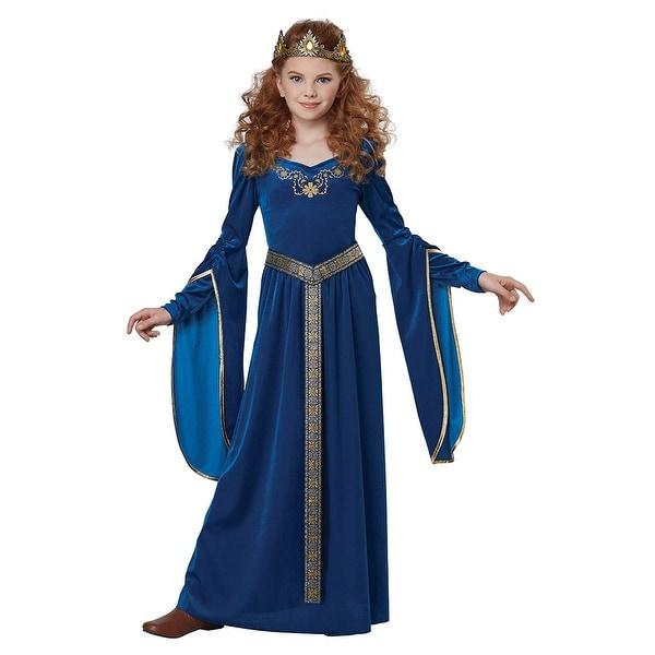 Girls Royal Blue Medieval Princess Halloween Costume