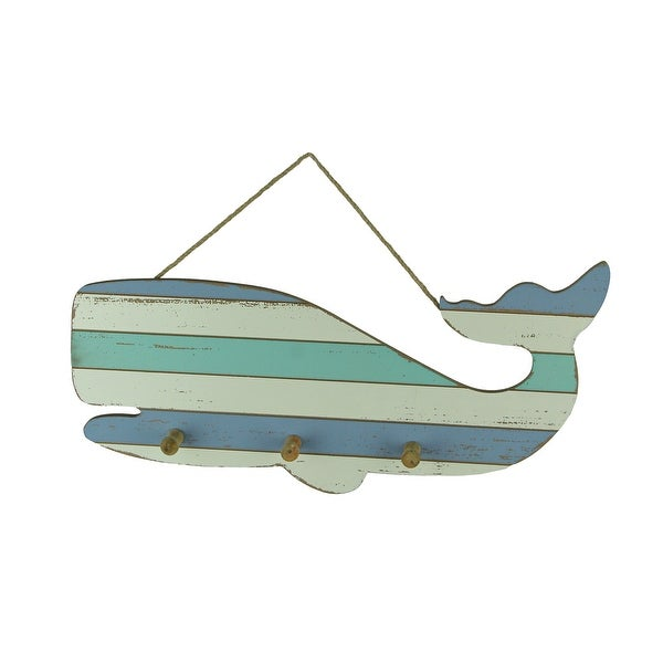 Blue and White Striped Wood Whale Wall Hook Rack - 9.5 X 18 X 1.5 inches