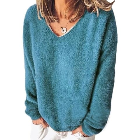 V-Neck Loose Fleece Sweater