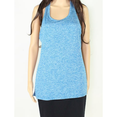 Nike Womens Top Teal Blue Size Large L Tank Racerback Mesh-Trim Scoop Neck 104