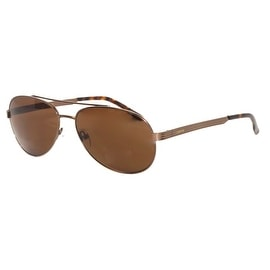 Levi Rxable Sunglass LS813 1 Dark Brown Mens Metal Aviator, Solid Brown Lens