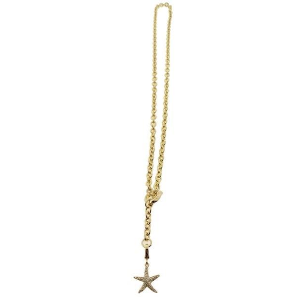 Karen Kane Womens Chain Necklace Starfish Pave - GOLD
