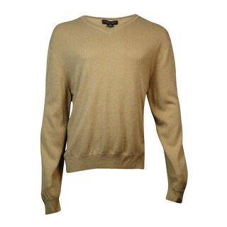 The Men's Store Men's V-Neck Knit Cashmere Sweater (XXL, Camel) - camel - XxL