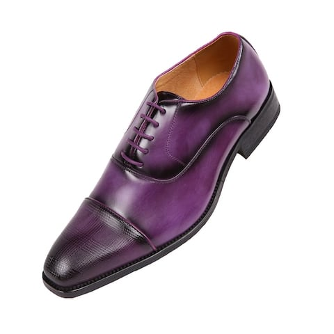 Amali Oxford Faux Smooth Leather Cap Toe Lace-Up Formal Dress Shoe's